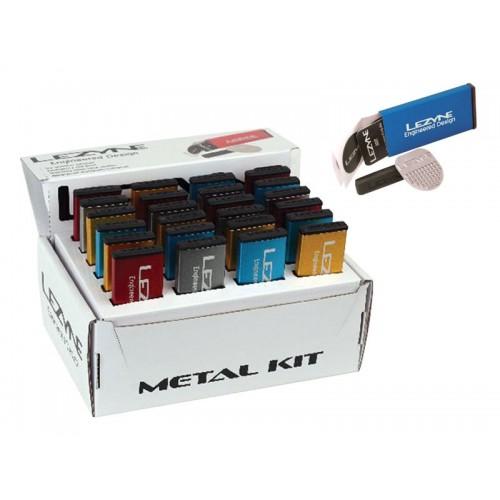 Łatki do dętek zestaw LEZYNE METAL KIT BOX 6xłatki samoprzylepne, tarka, 1x łatka do opony 24szt. mix kolorów (NEW)