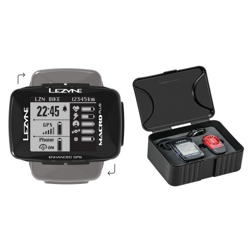 Licznik rowerowy LEZYNE MACRO PLUS GPS SMART LOADED (w zestawie lampka tylna KTV SMART CONNECT + uchwyt na kierownicę) (NEW)