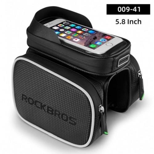 Torba rowerowa na ramę pod smartfon 6,2 + sakwy boczne