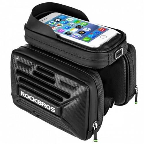 Torba rowerowa premium na ramę pod smartfon 6,2 i sakwy boczne carbonlook Rockbros